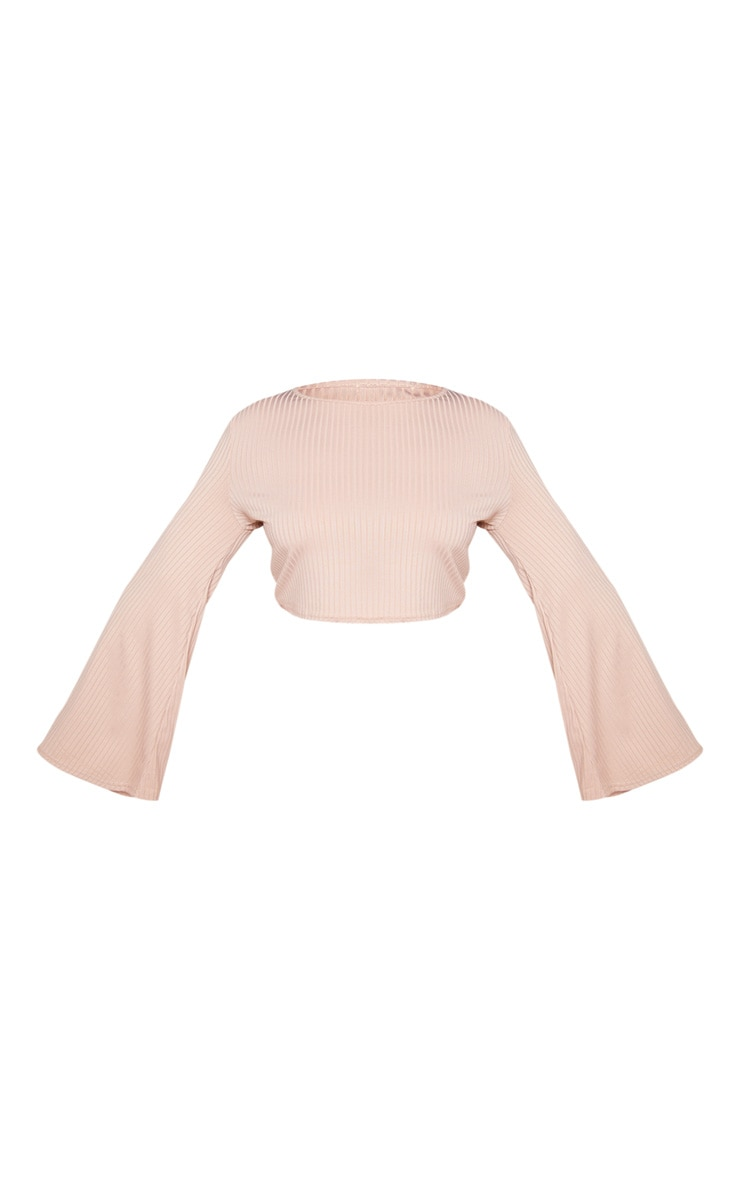 Plus Stone Ribbed Long Sleeve Crop Top 3