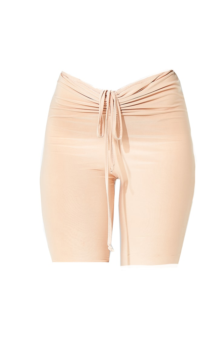 Cream Slinky Ruched Waist Cycle Shorts 6