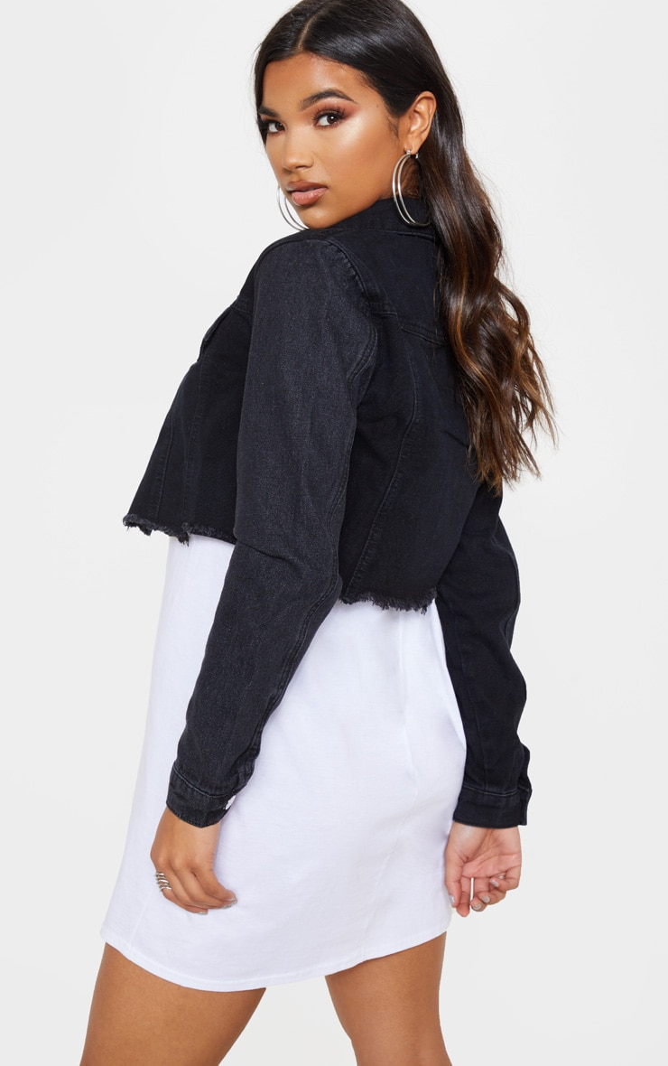Washed Black Contrast Cropped Denim Jacket 3