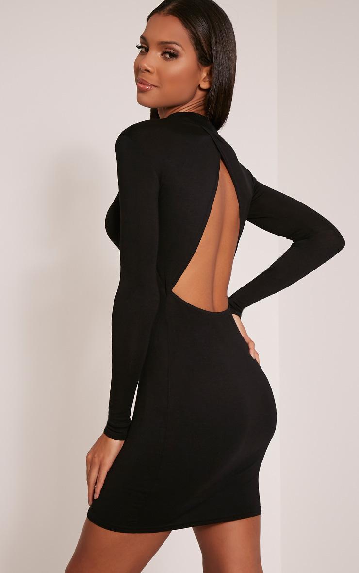 Demee Black Open Back Jersey Bodycon Dress 1