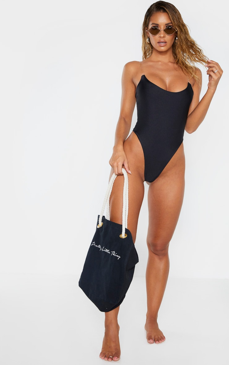 Black Clear Strap Scoop Swimsuit 4