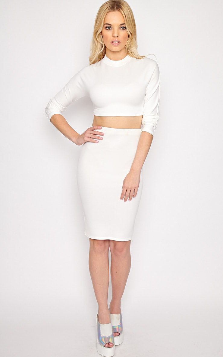 Megan White Turtle Neck Crop Top 3