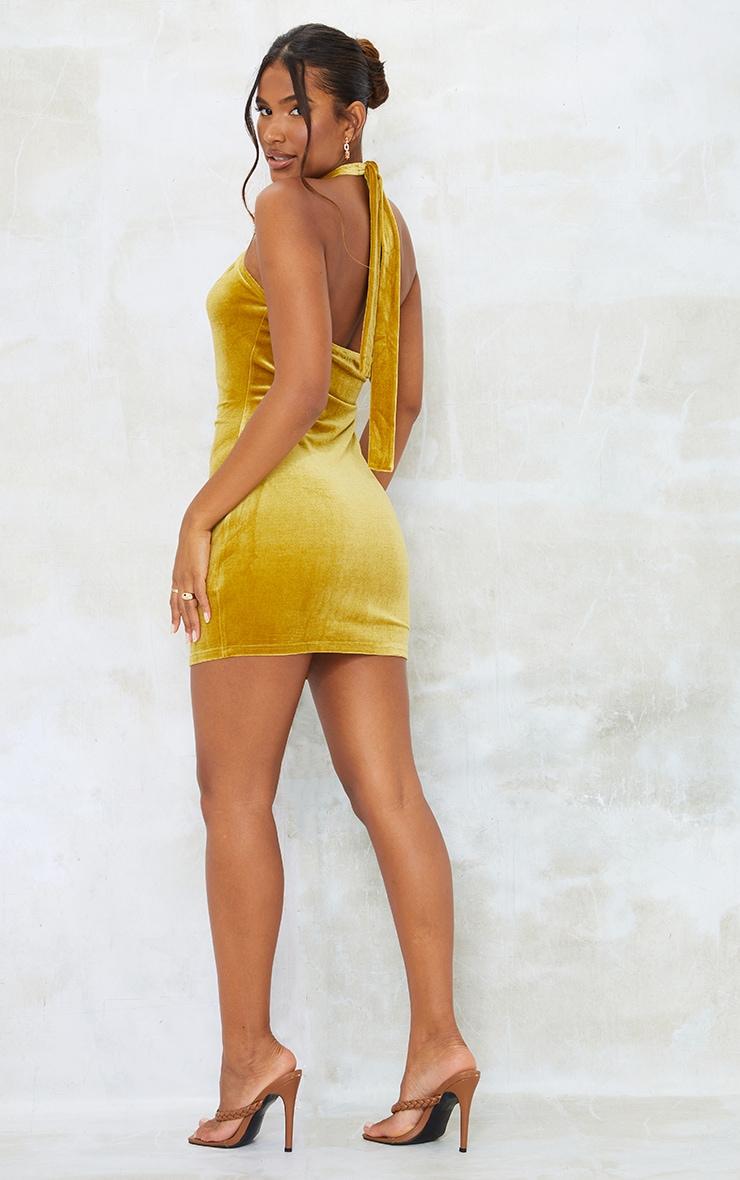 Chartreuse Velvet Halterneck Knotted Bodycon Dress 2