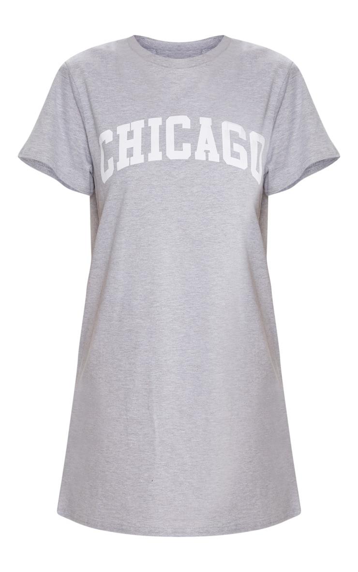 Chicago Grey Oversized T Shirt Dress 3