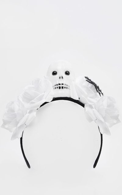 White Day Of the Dead Flower And Skull Headband