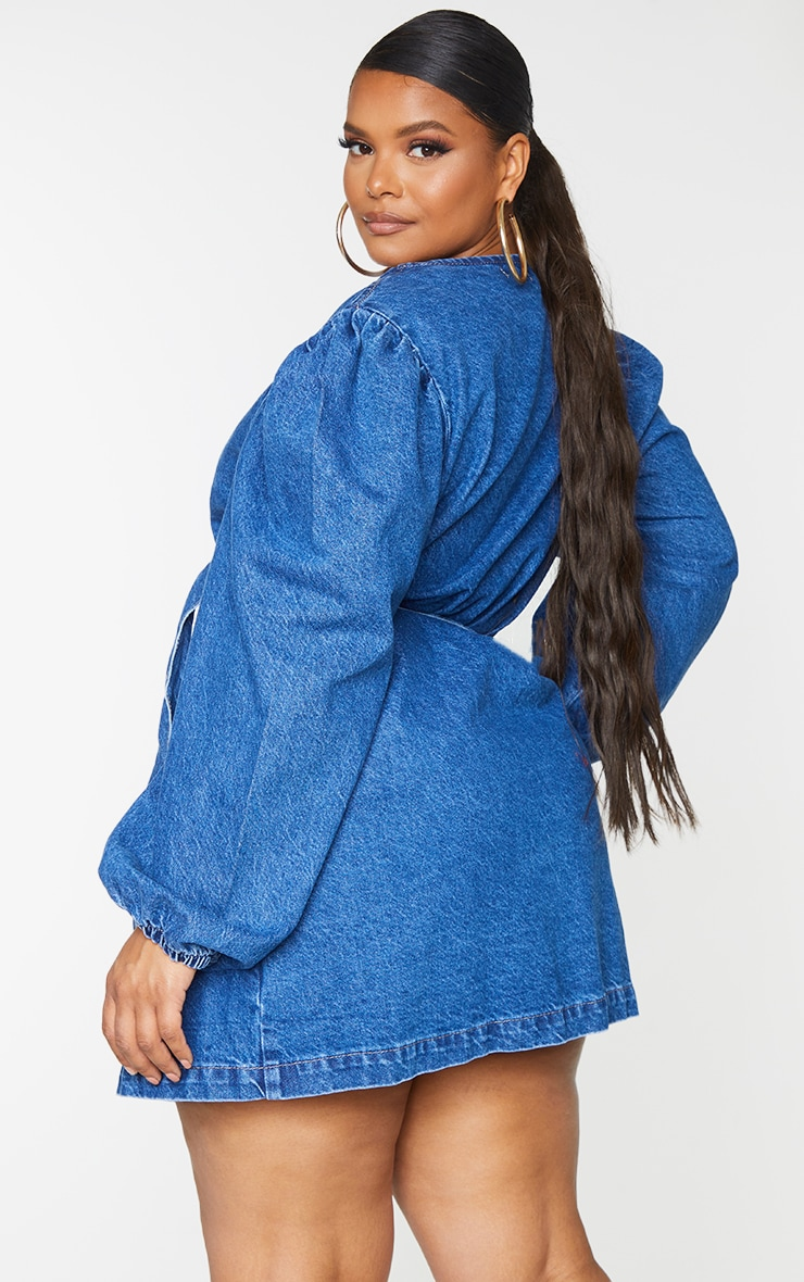 Plus Dark Blue Denim Puff Sleeve Wrap Dress 2