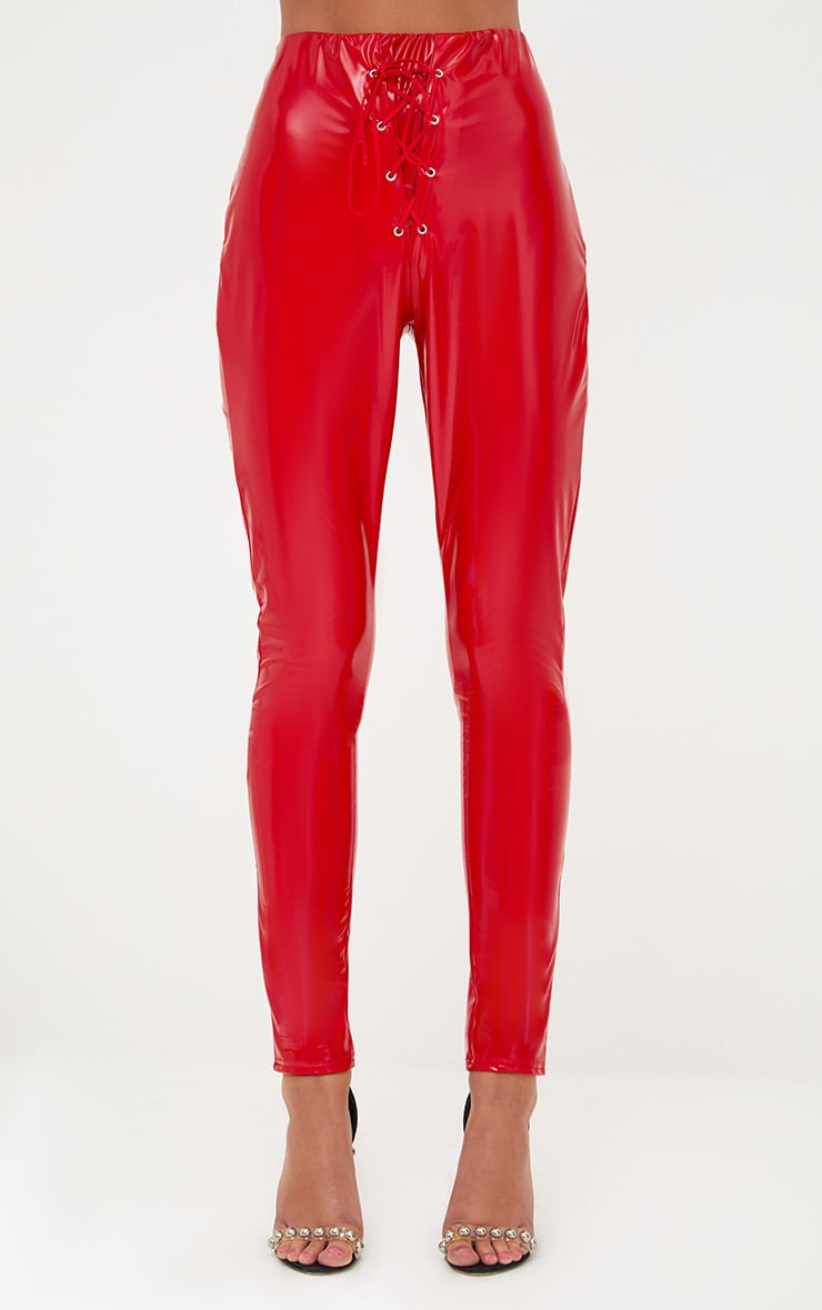Red Vinyl Skinny Lace Up Pants 2