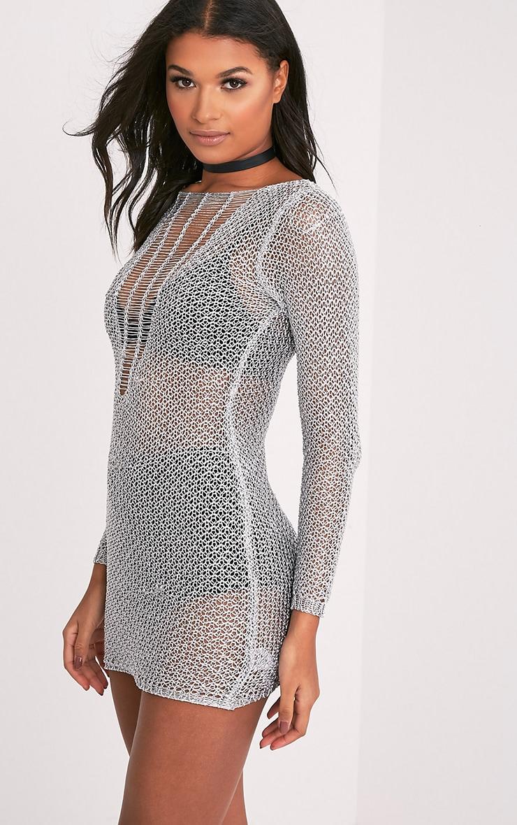 Petite Kay robe mini argent métallisé maille échelle 3