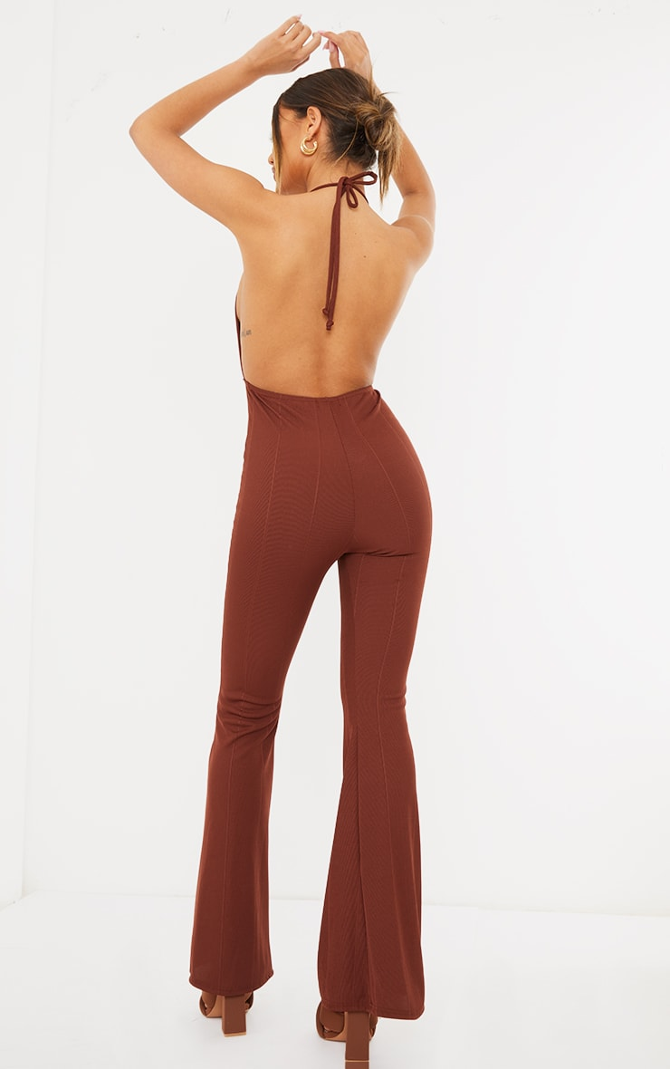 Chocolate Bandage Plunge Flared Leg Jumpsuit 2