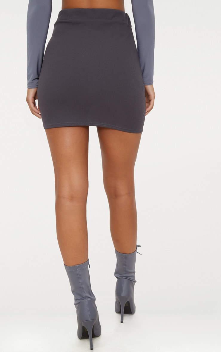 Charcoal Grey Double Split Lace Up Mini Skirt  4