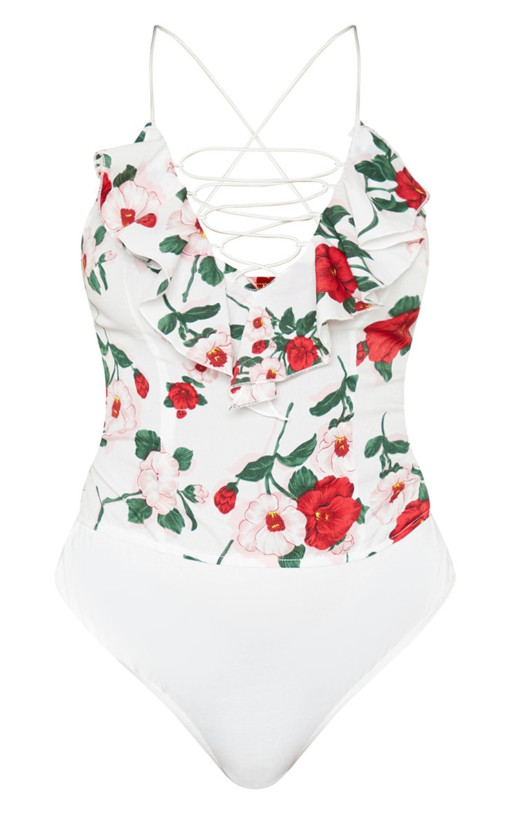 Body sans manches blanc imprimé roses à fines bretelles et lacets 3