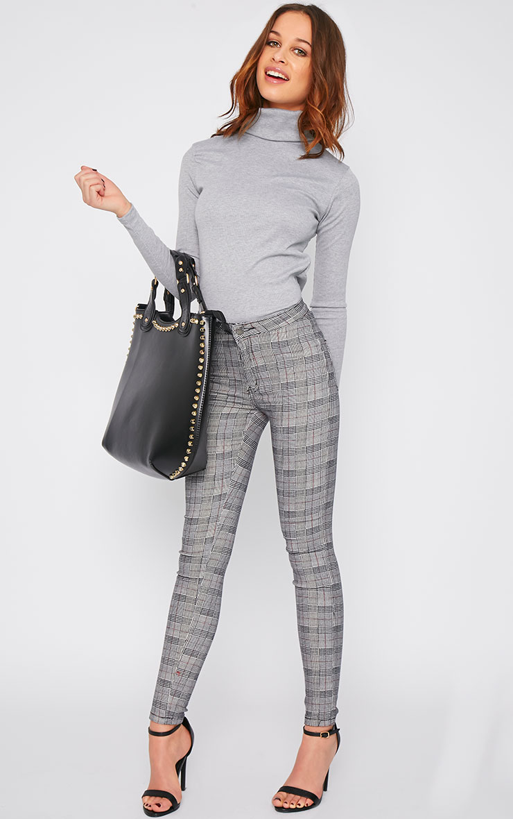 Evonne Grey Tartan High Waist Skinny Jean  1