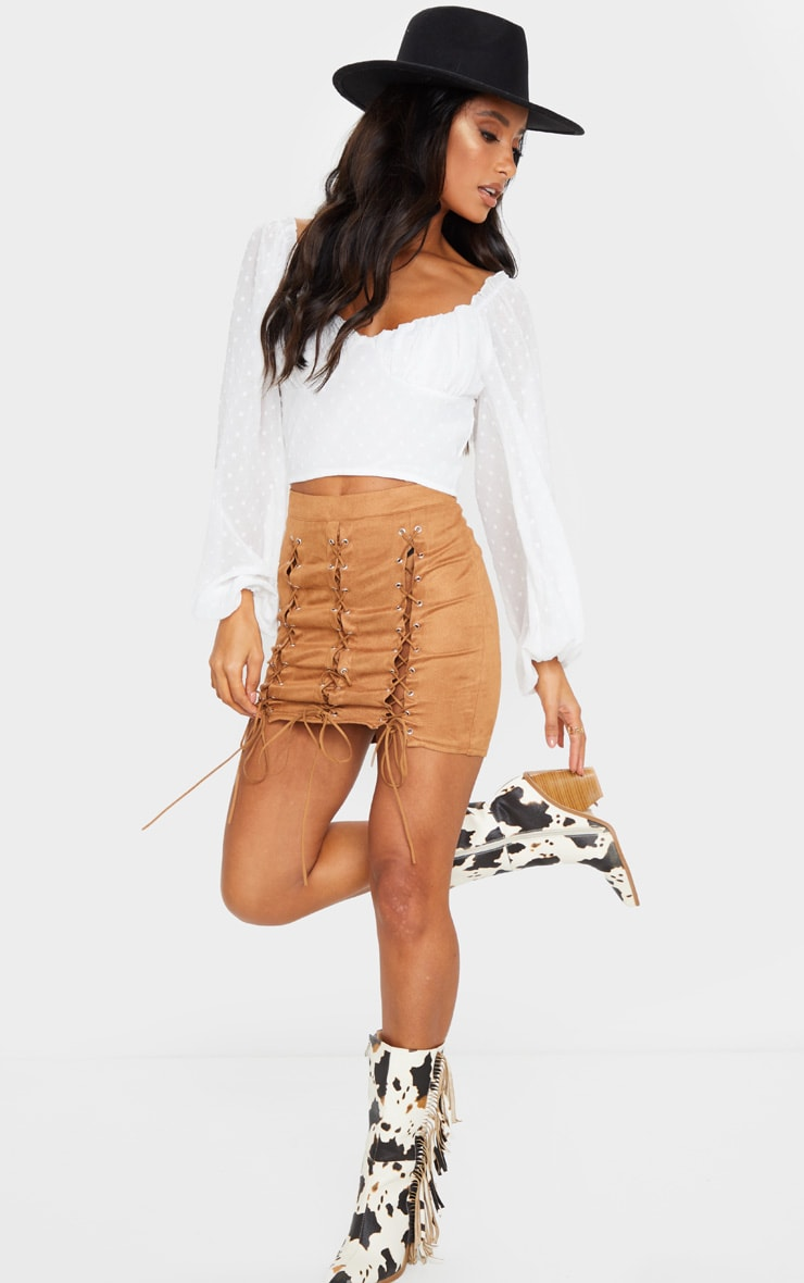 Tan Faux Suede Lace Up Detail Mini Skirt 1