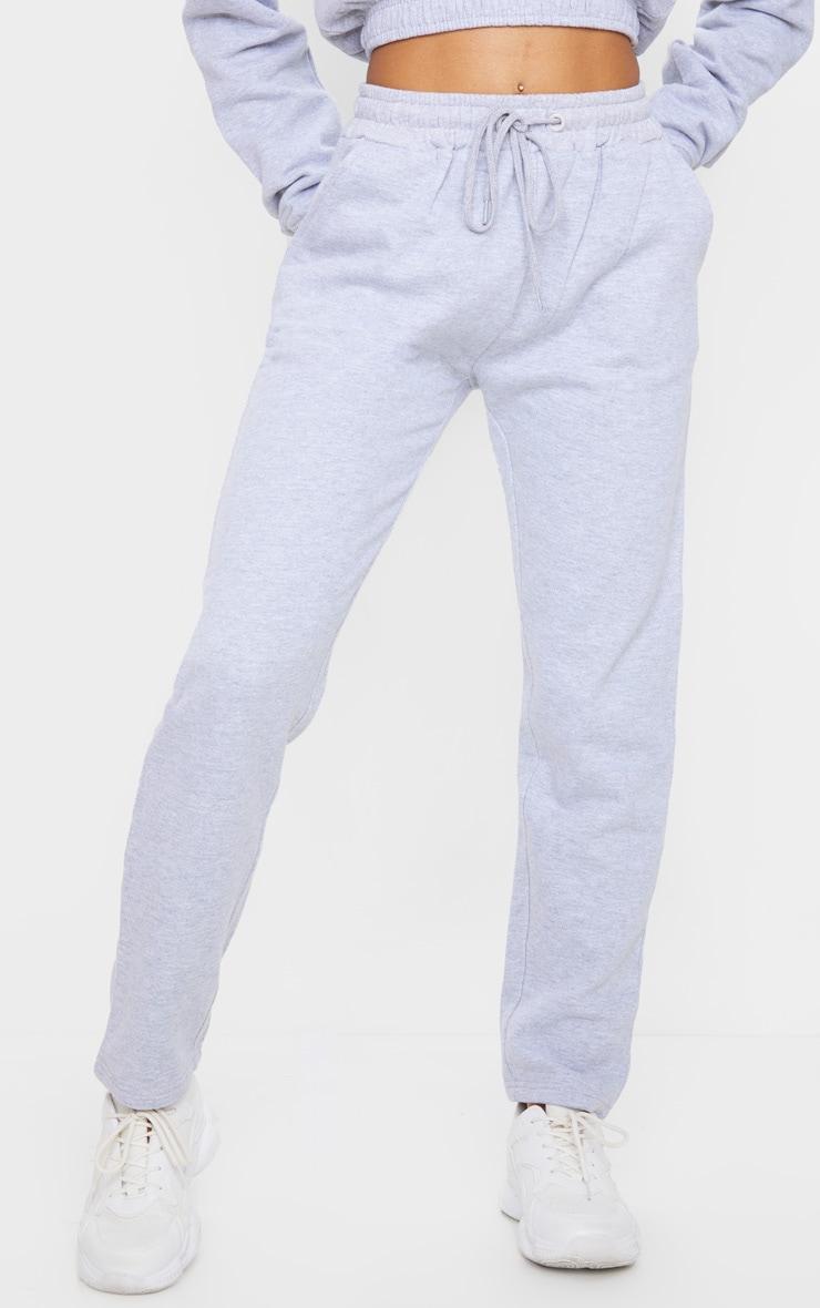 Grey Tie Waist Straight Leg Joggers 2