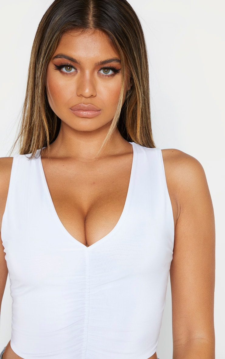 White Slinky Ruched Front V Neck Crop Top 4