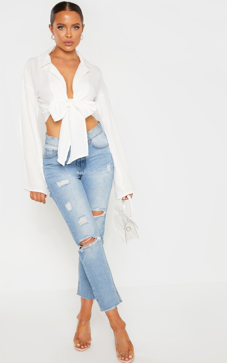 White Textured Oversized Tie Front Shirt 4
