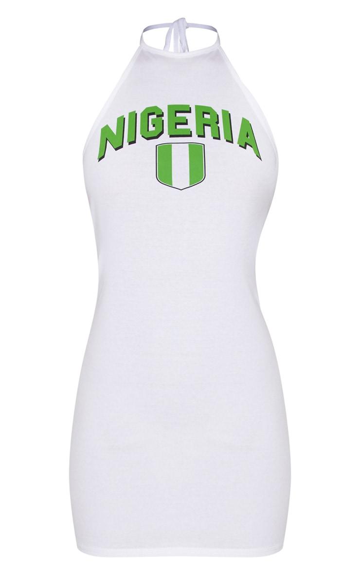 Nigeria Football Halterneck White Bodycon Dress 3