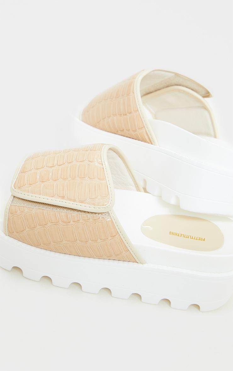 Nude PU Croc Cleated Flatform Velcro Slides 3