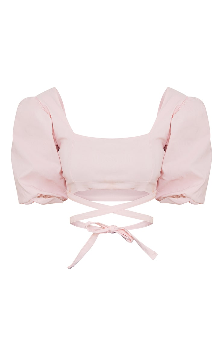 Nude Bengaline Short Puff Sleeve Tie Detail Crop Top 5