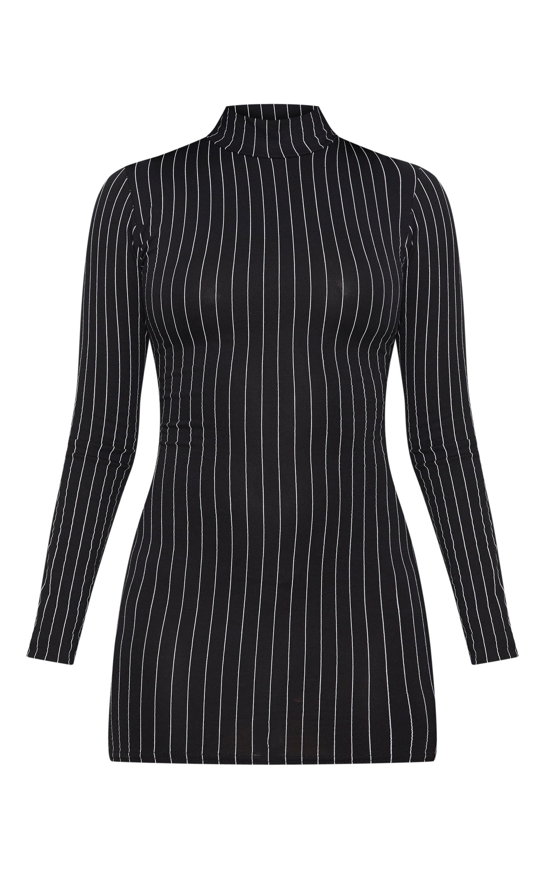 Petite Black Pinstripe High Neck Bodycon Dress 3