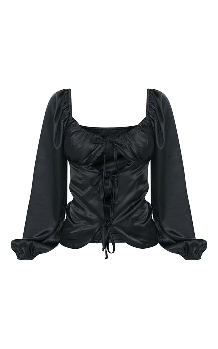 Black Satin 3 Tier Tie Front Long Sleeve Blouse 5