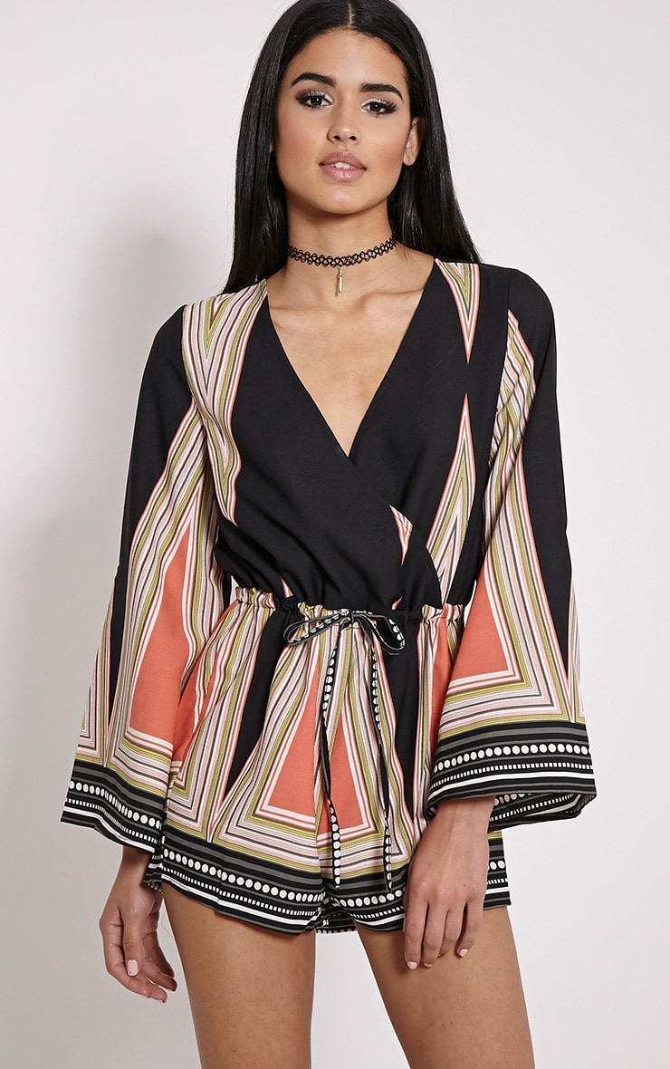 Lillia Black Geometric Batwing Playsuit 1