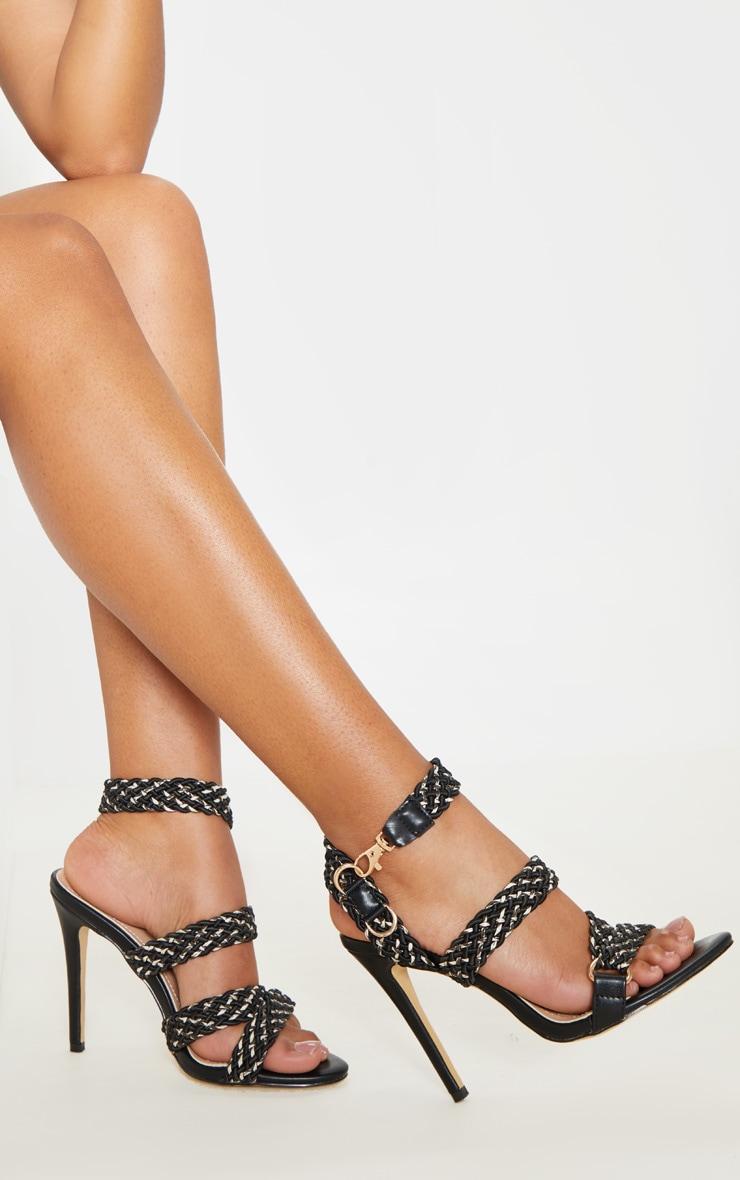 Black Buckle Clasp Rope Strap Sandal  1
