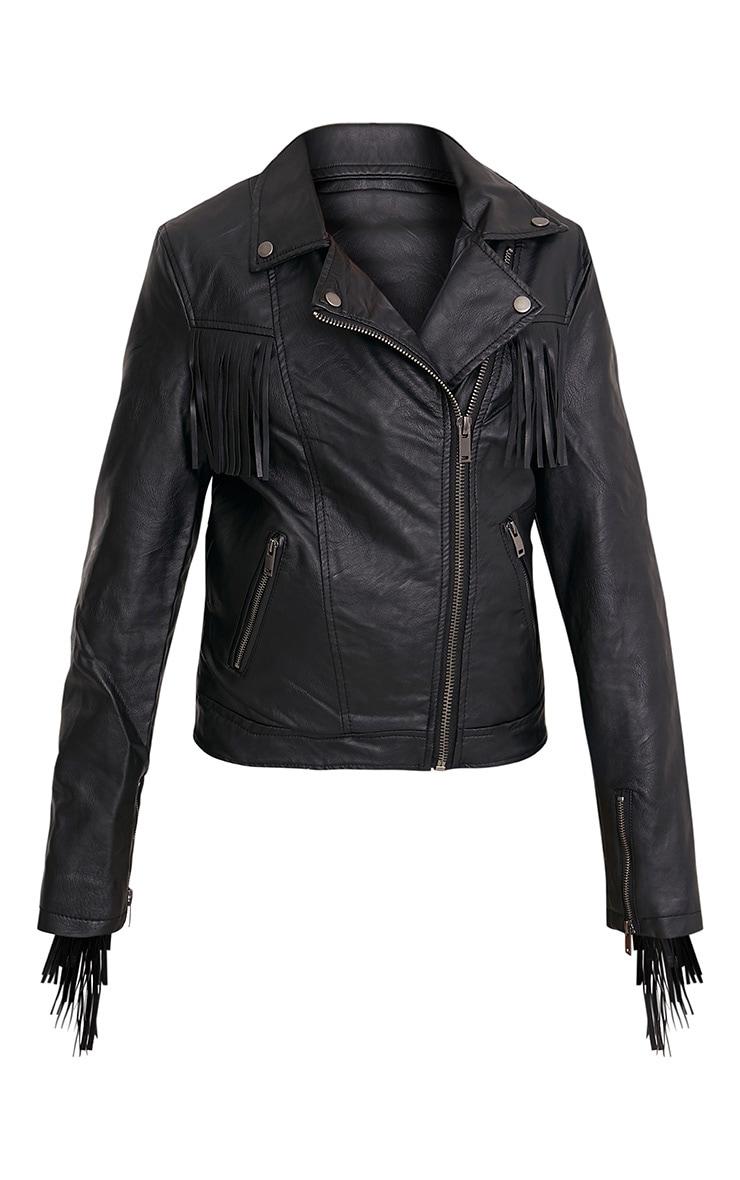 Kira Black Extreme Fringe Faux Leather Biker Jacket 3