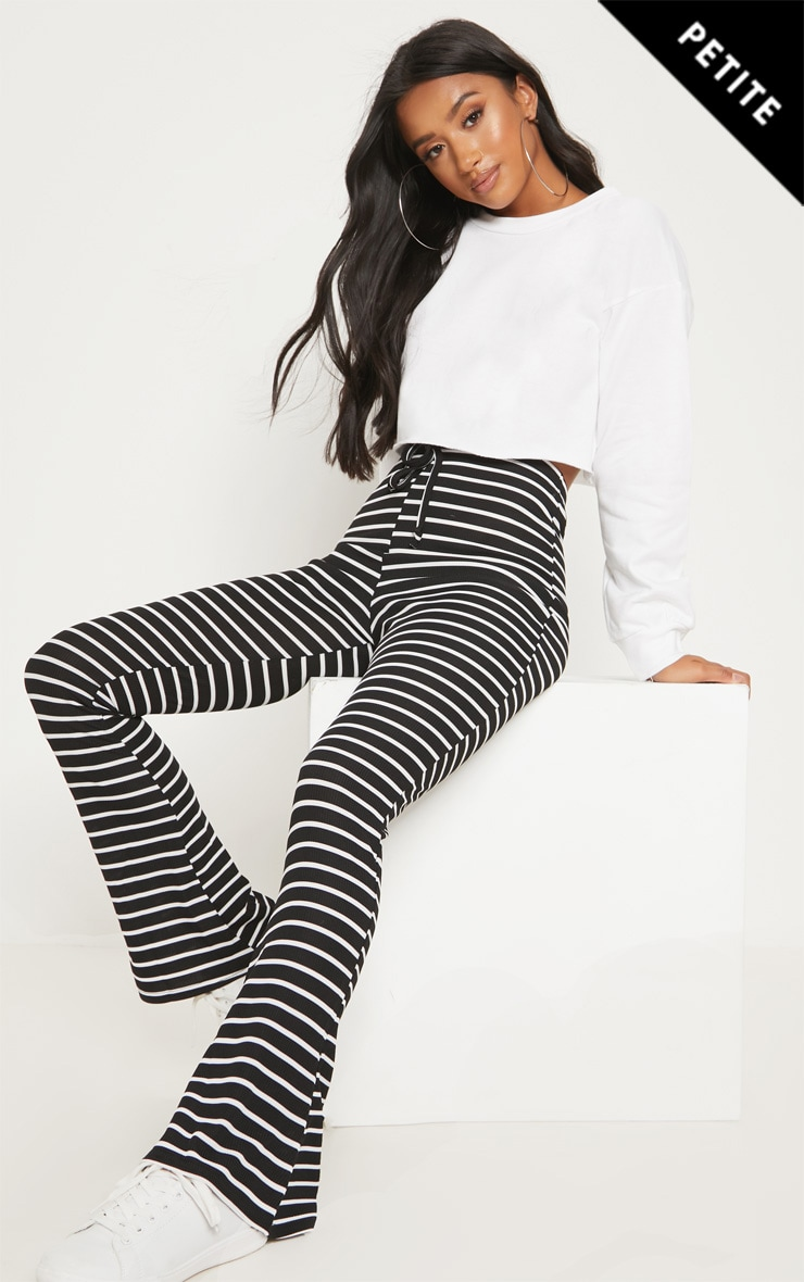 Petite Black Striped Flared Pants 1