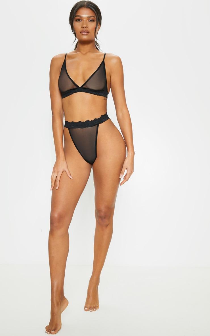 Black Sheer Mesh High Leg Lace Trim Panties 4