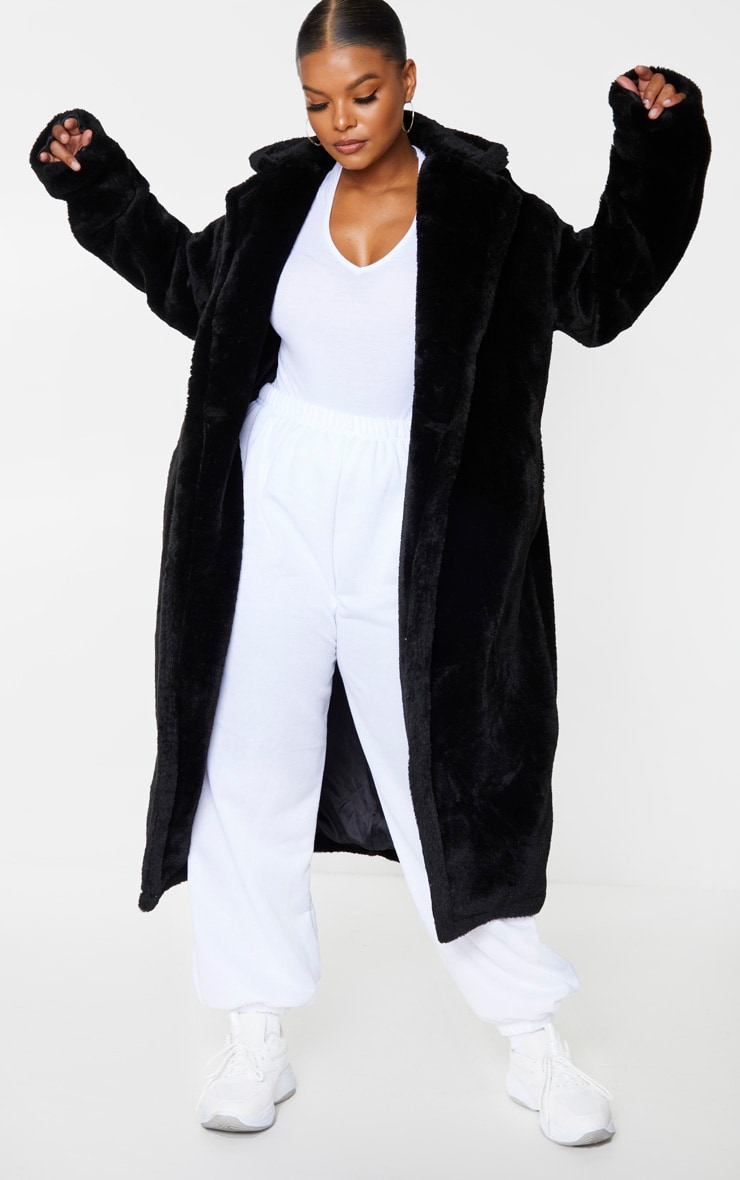 Plus Black Large Lapel Midaxi Faux Fur Coat 1