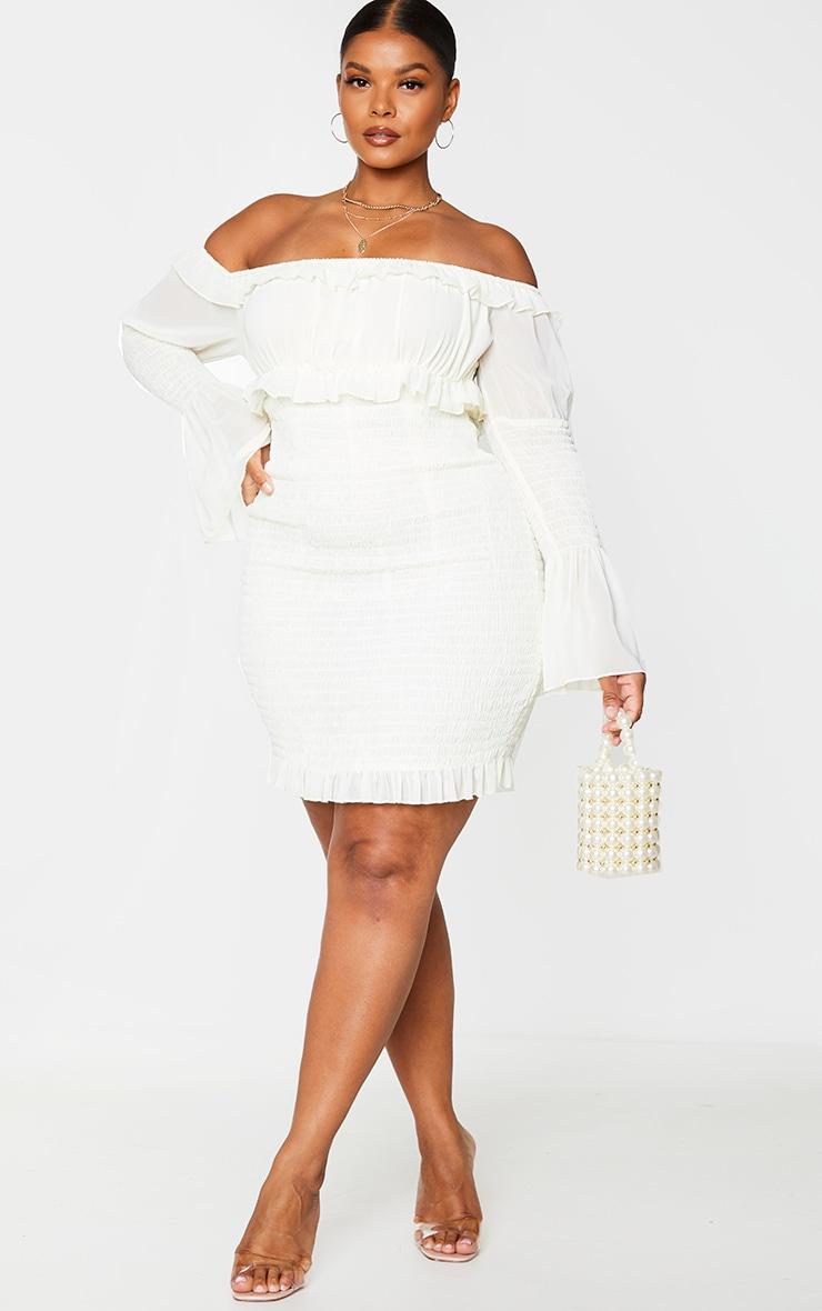 Plus Cream Chiffon Shirred Bodycon Dress 3