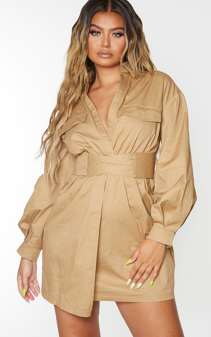 Camel Plunge Waist Detail Long Sleeve Shift Shirt Dress 1