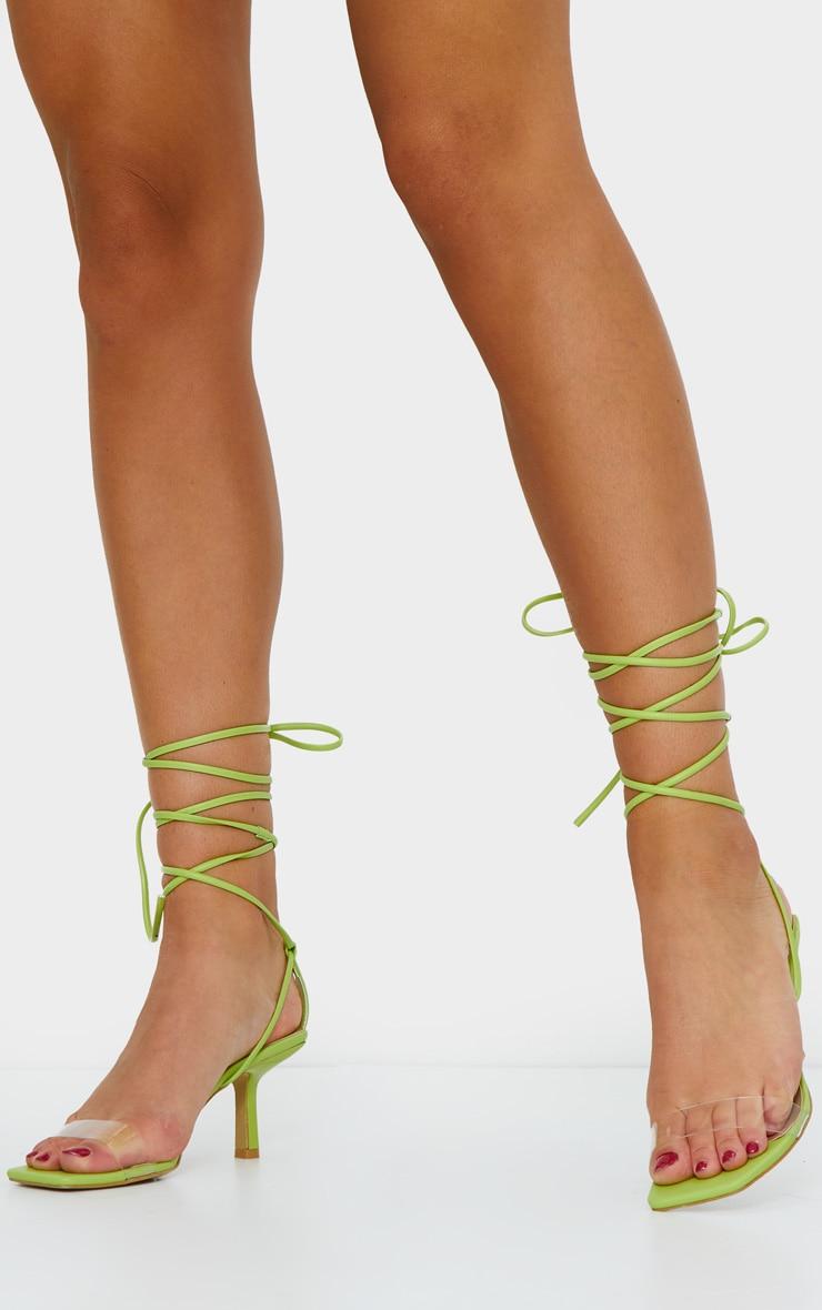 Green Low Heel Clear Strap Ankle Tie Sandal 2