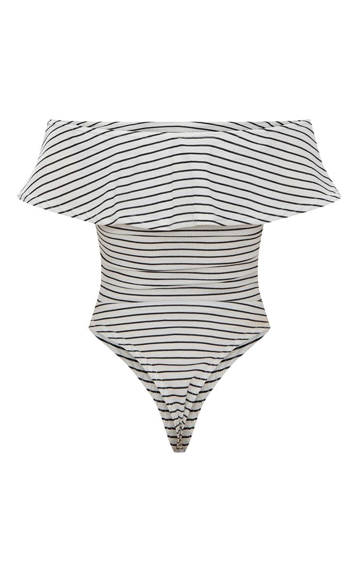 White Stripe Bardot Frill Thong Bodysuit 4