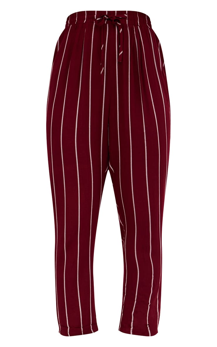 Burgundy Pinstripe Casual Trousers 3