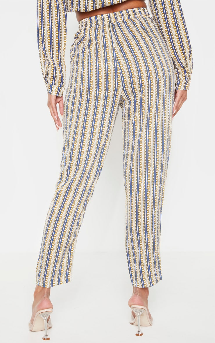 Cream Chain Printed Cigarette Trouser 4