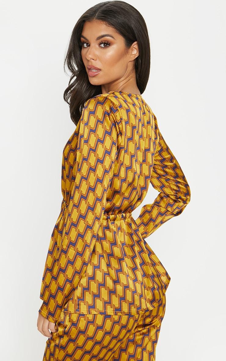 Mustard Satin Printed Long Sleeve Tie Waist Blouse 2