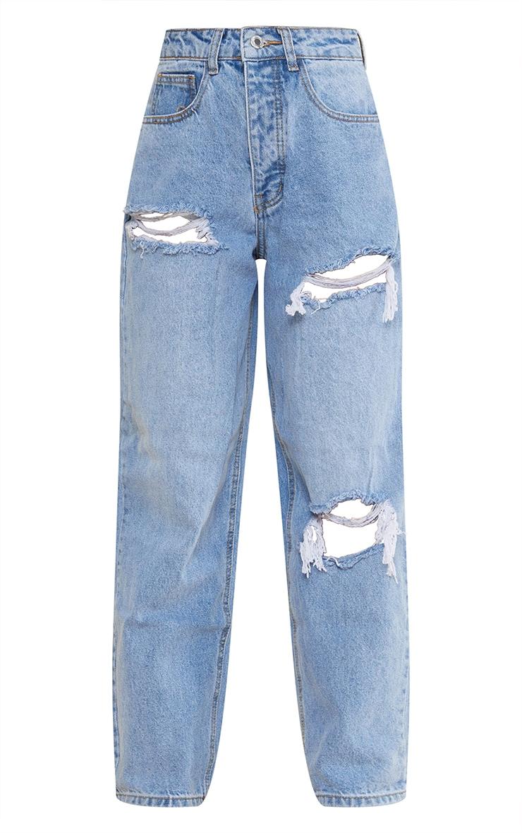 PRETTYLITTLETHING Petite Light Blue Wash Open Knee Boyfriend Jeans 5