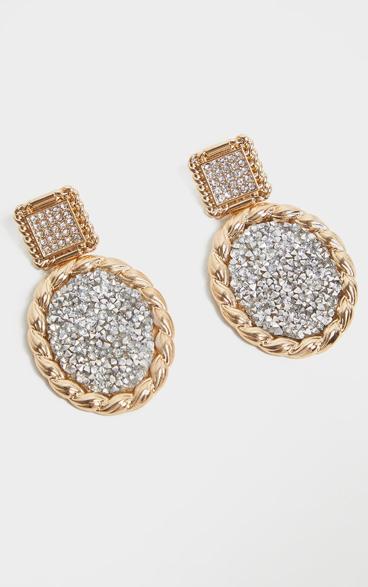 Gold Rope Effect Glitter Cluster Door Knocker Earrings 2