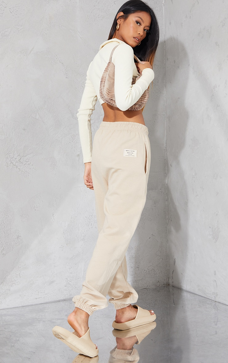 PRETTYLITTLETHING Taupe Branded Apparel Joggers 1