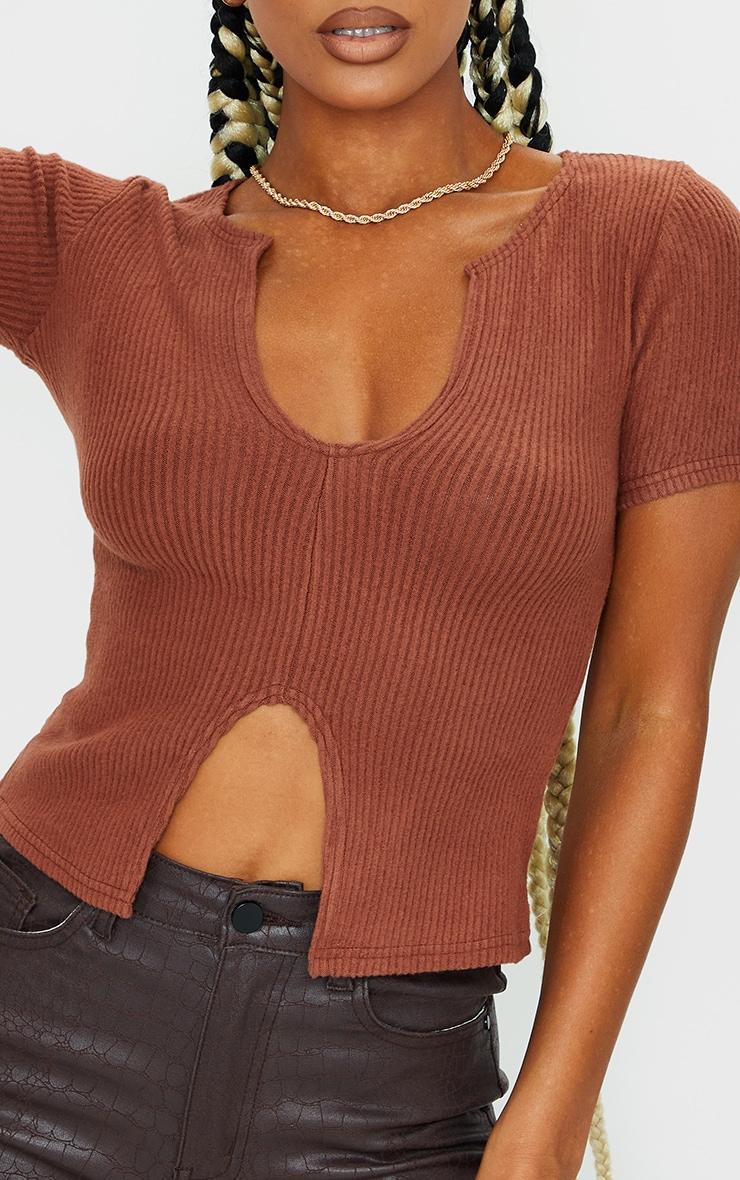 Chocolate Brushed Rib V Neck Short Sleeve Top 4