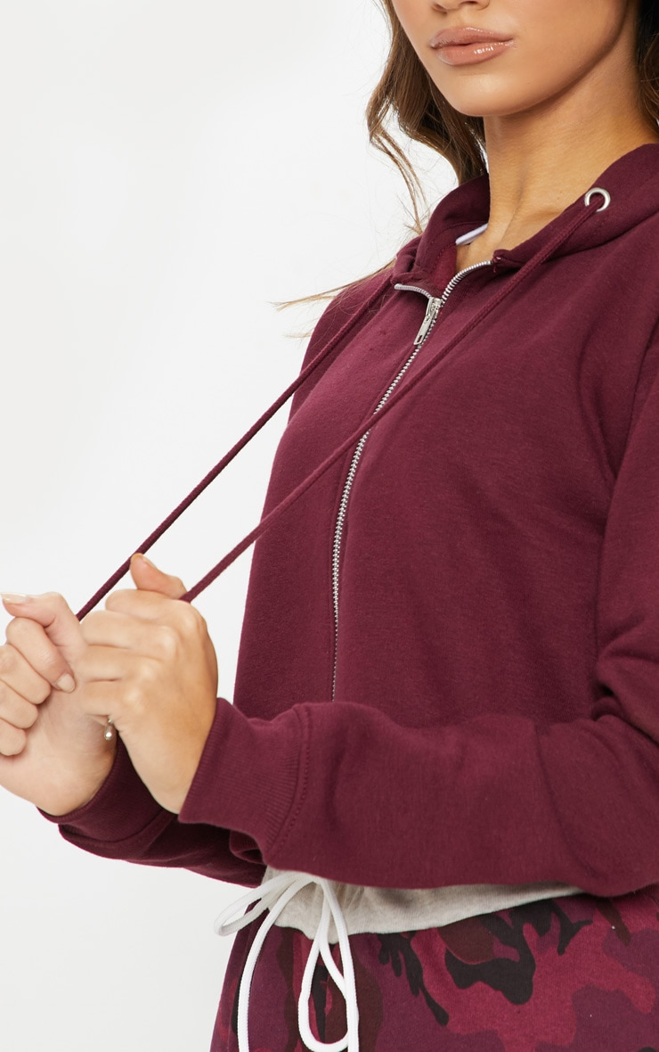 Burgundy Crop Zip Hoodie 5