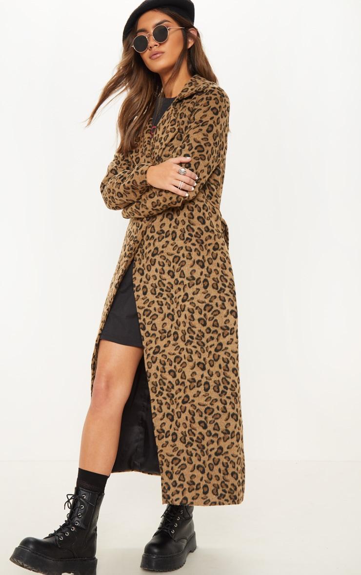 Tan Belted Leopard Coat 4