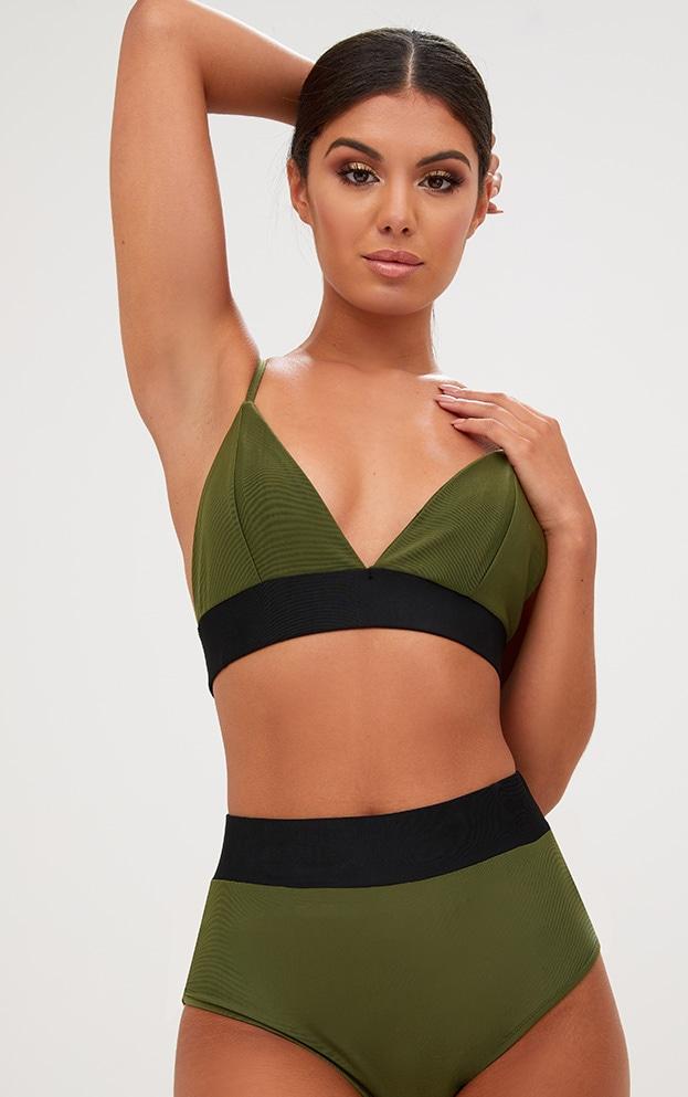 Khaki Contrast Bikini Top 1