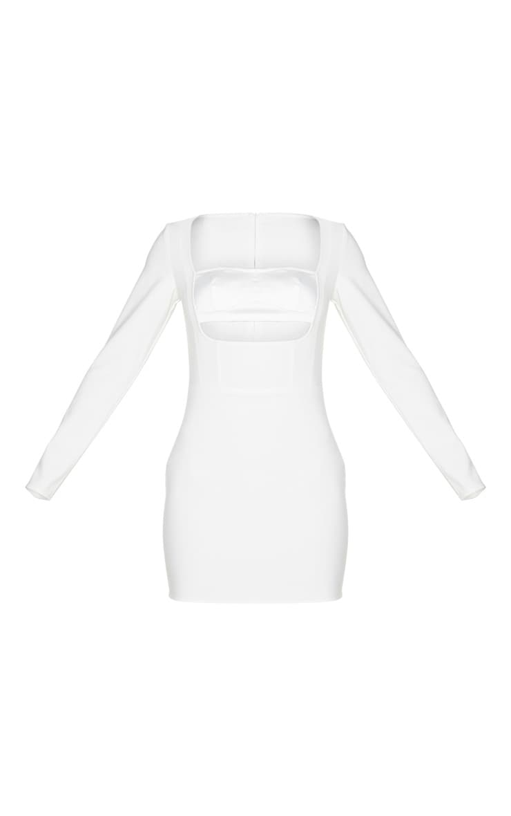 White Long Sleeve Bust Panel Detail Bodycon Dress 5