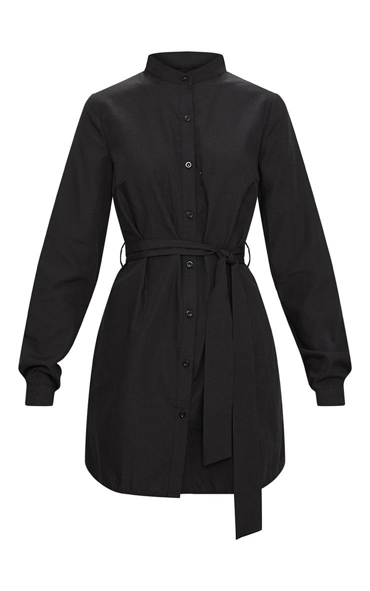 Black Tie Waist Shirt Dress 3