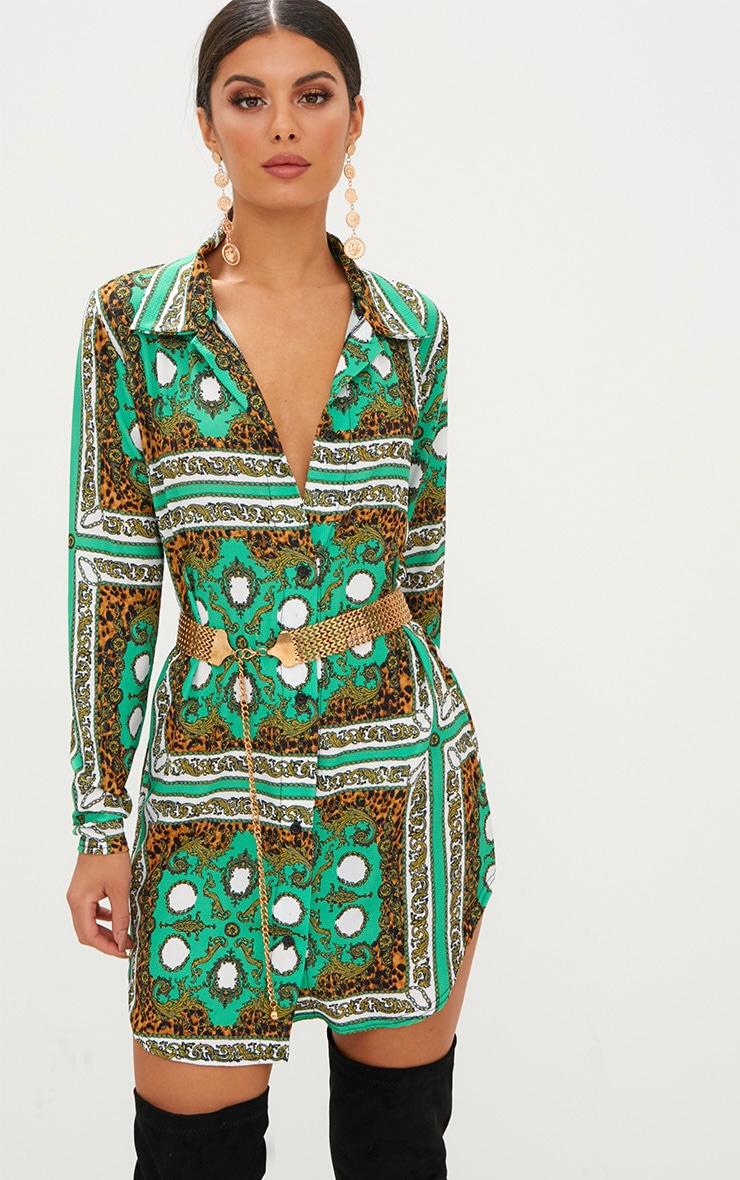 Green Scarf Print Shirt Dress 1