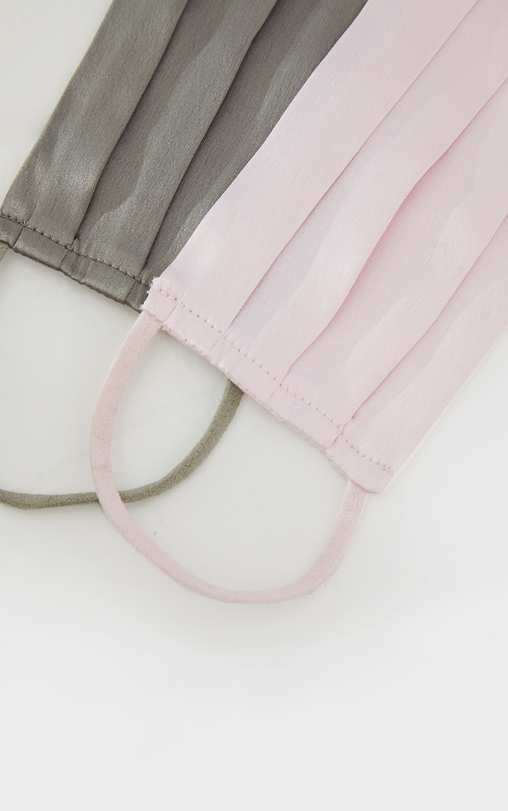 Pink And Khaki Pleated Satin Two Pack Face Mask 3