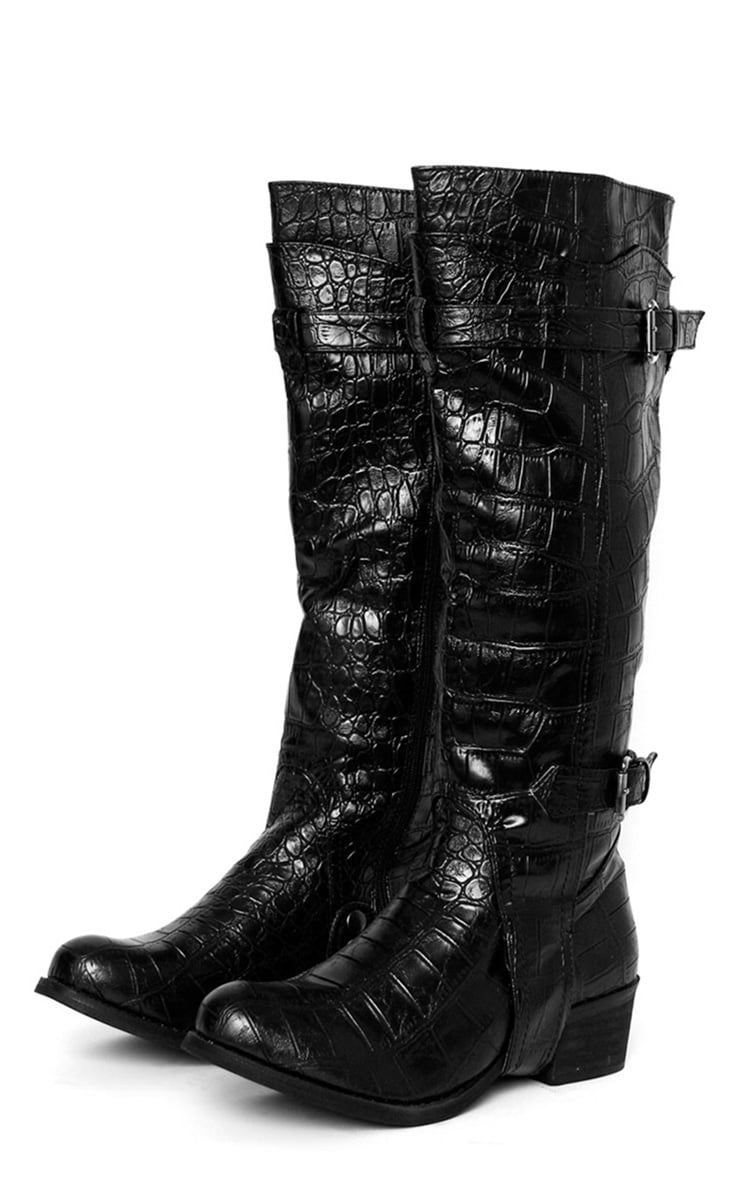 Sheri Black Snake Boot  2